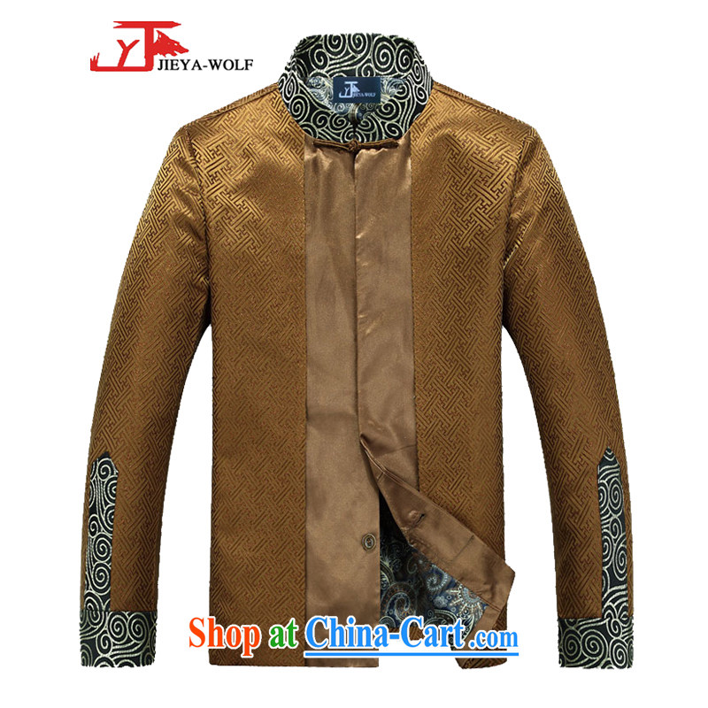 Jack And Jacob - Wolf JEYA - WOLF Chinese men's T-shirt jacket men Tang mounted spring loaded leisure silk scarves, 170 gold_M