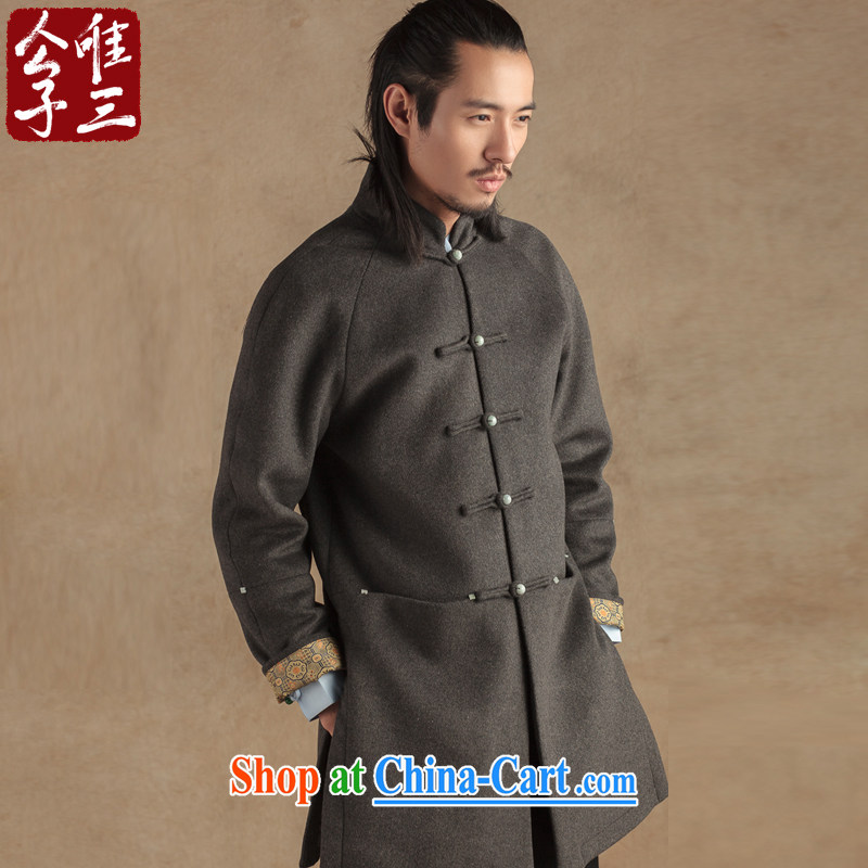 Only 3 Lisa China wind Jade 5 de Jade for Chinese men and long fleece coat is ethnic Han-gray Winter Campaign (XXL)