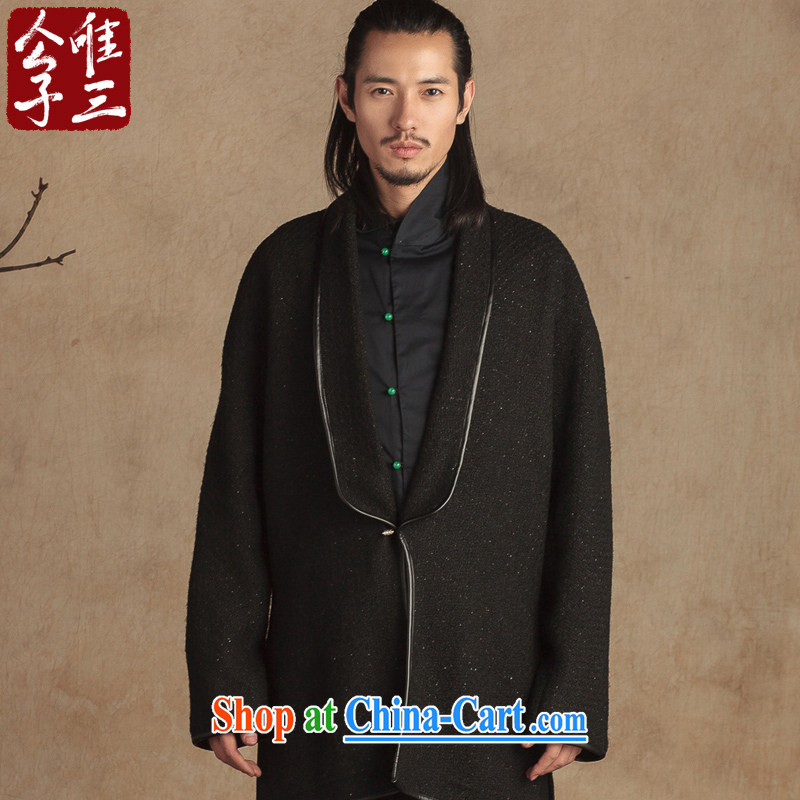 Only 3 Chinese wind wool is a long mantle of the copper buckle decor jacket Chinese Han-thick winter Black silver wire movement _XXL_