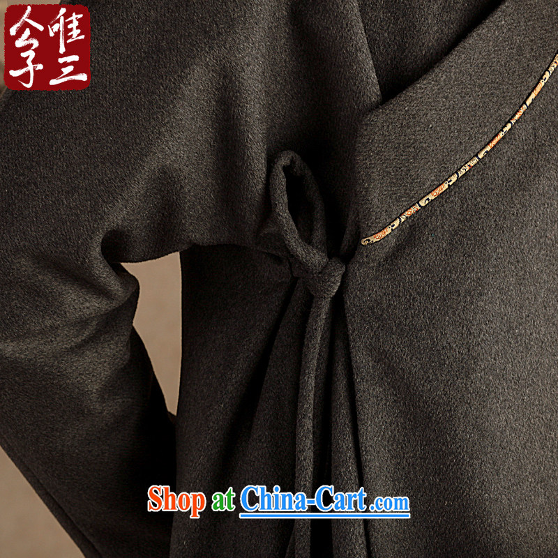 Only 3 Chinese wind-han, Jacob wool jacket that Chinese men's ethnic Chinese Han-coat leisure thick winter small gray (S), only 3, and, on-line shopping