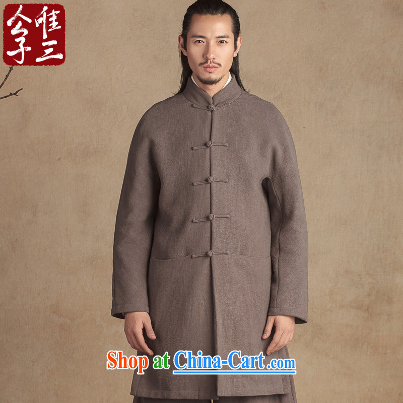 Only 3 Lisa China wind linen wool inner pot quilted coat coat Chinese men and national linen Chinese winter coat new Gray Movement _XXL_