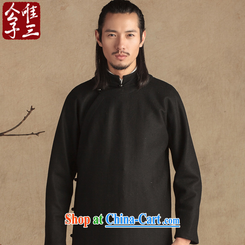 Only 3 Chinese wind wool is a flap up jacket of Chinese men and cultivating ethnic Chinese Han-thick winter Black Movement (XXL)