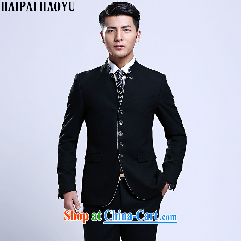 HAIPAIHAOYU leisure as well as business, business suits for package beauty men wore single tablets for Zhongshan style suit package black XXXL_185
