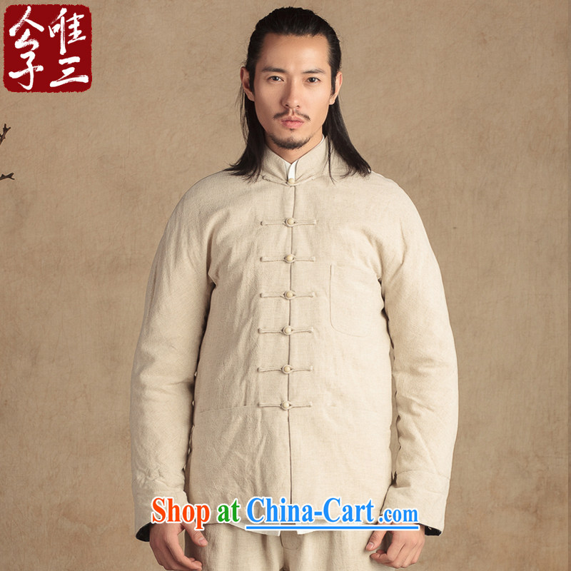 Only 3 Lisa China wind Banyan sub-linen quilted coat Chinese men and ethnic clothing thick Han-fall and winter coats thick beige movement (XXL)