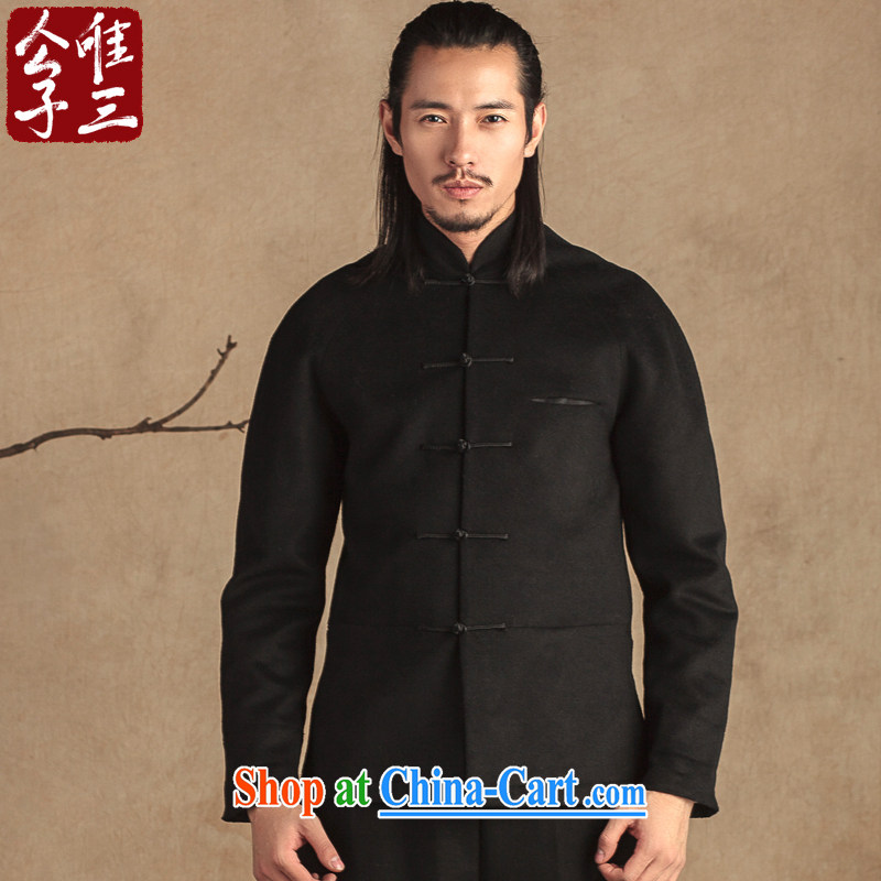 Only 3 Chinese style Chinese men's disc for cultivating Chinese national improvement and stylish casual wool? The jacket thick black movement (XXL)