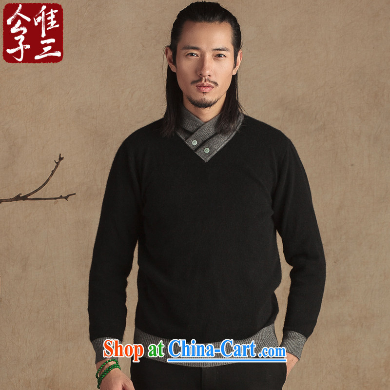 Only 3 Chinese wind stingrays fluff clothing Jade buckle improved Chinese Chinese Young Men's beauty sweater National Winter thick black movement (XXL)