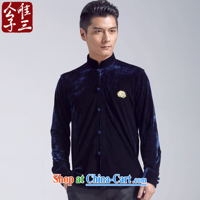 Only 3 Chinese wind Kam Lotus scouring pads, retreat for clothing and casual shirt men and Chinese Youth Chinese shirt, hiding the movement _XXL_
