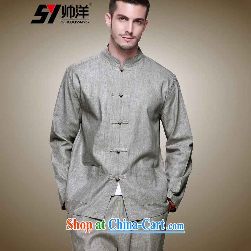 cool ocean 2015 spring linen men's Tang is set long-sleeved sweater and trousers a Chinese style shirt, for Chinese national costume retro hand-tie the gray (long-sleeved pants kit) 41/175