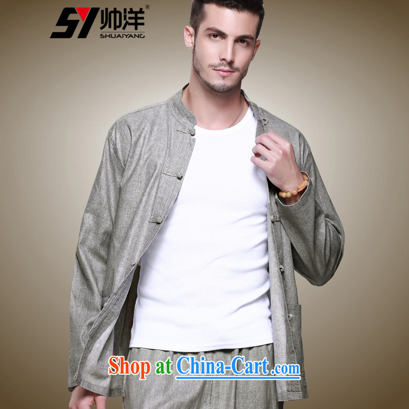 cool ocean 2015 linen men's Chinese shirt Chinese clothing the tie and shirt national costumes men's long-sleeved T-shirt single layer package jacket China wind up for men and replace the gray (T-shirt) 43/185