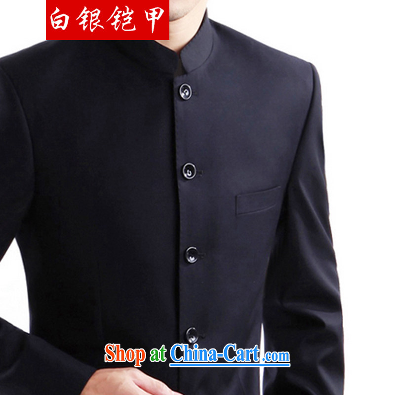 Silver armor and smock China wind men's men's Chinese Han-snap the Sun Yat-sen suit China Nepal serving serving black XL