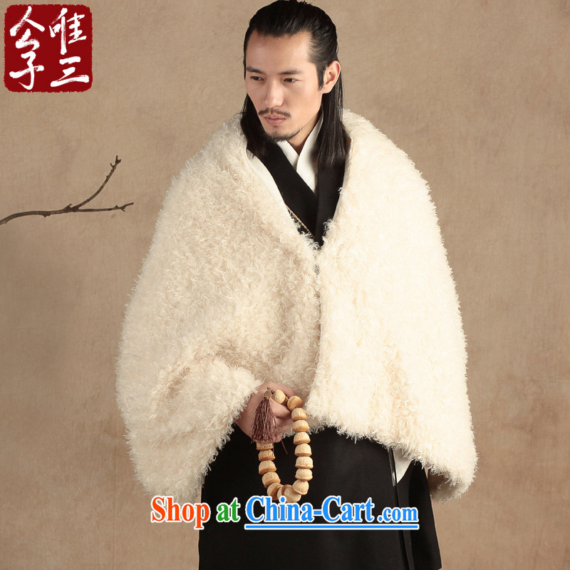 Only 3 Lisa Chinese style woolen shawl men's ethnic Chinese silk scarf shawl pashmina new Bluetooth White _L_