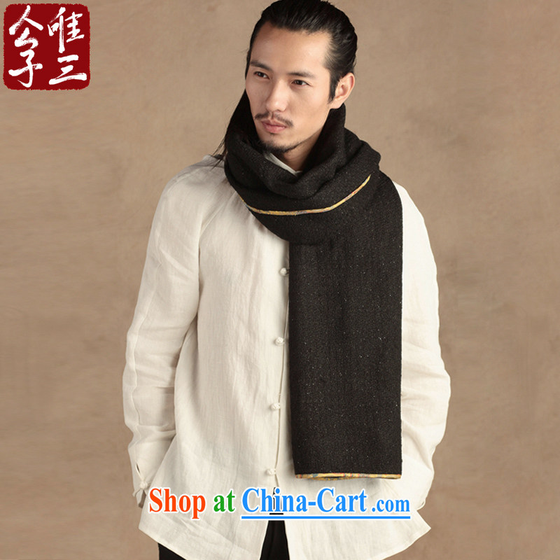Only 3 Lisa China wind wool men's scarves Chinese cashmere shawls winter long new black large (L)