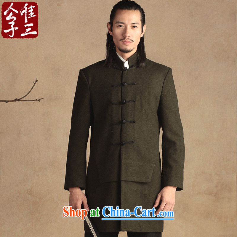 Only 3 Lisa China wind is a coat, collar wool coat is the Chinese Chinese jacket men's autumn and winter, the green movement (XXL)