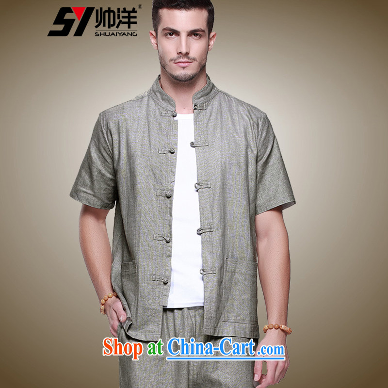 cool ocean New Products Linen men's Chinese package China wind short-sleeved shirts and trousers summer manual tray snaps up for antique Chinese national costumes the gray, short-sleeved pants kit) 41/175