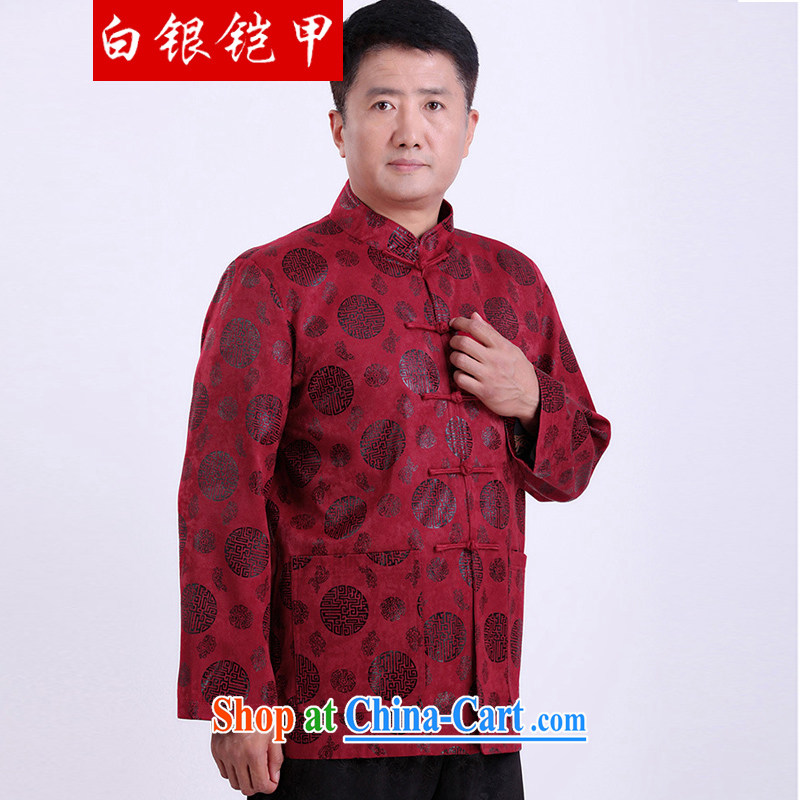 Silver armor, older men and the Chinese men's jacket larger thick China wind quilted coat red XXXL