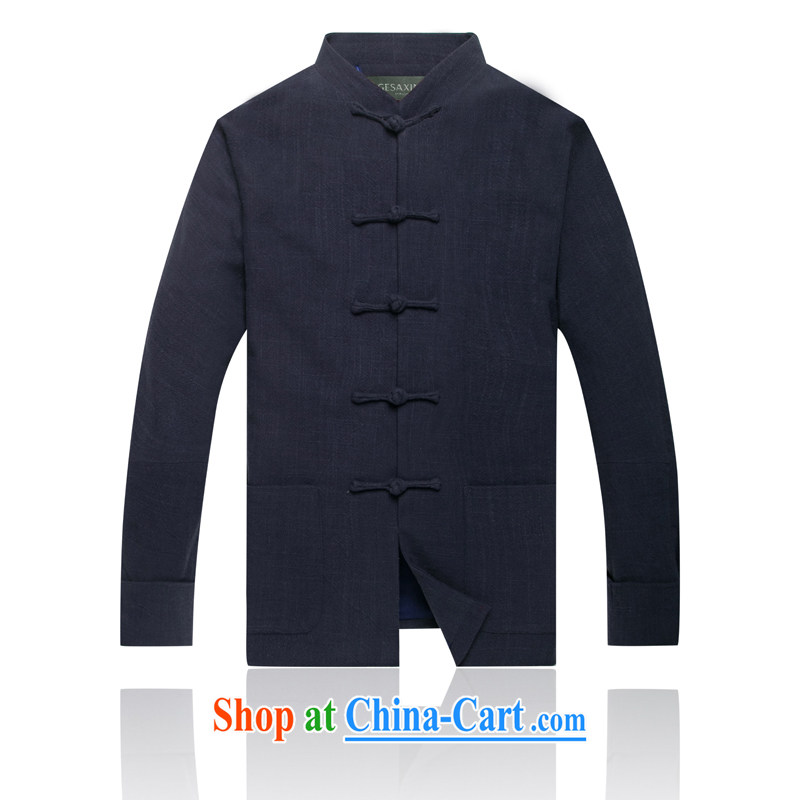 Linen long-sleeved Chinese men and men's Chinese Spring jackets Chinese the shoulder-in cuff older national costumes dark blue XXXL/190