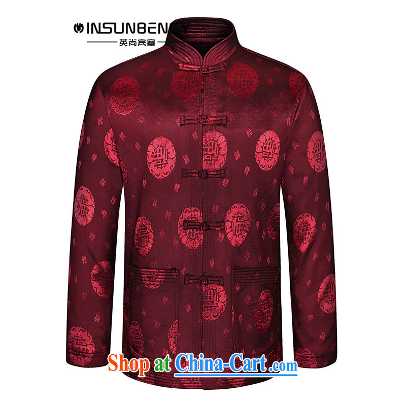 The British still Spencer 2015 spring new China wind, older men's stylish Chinese, stamp duty for Tang jackets Z 05 wine red 190