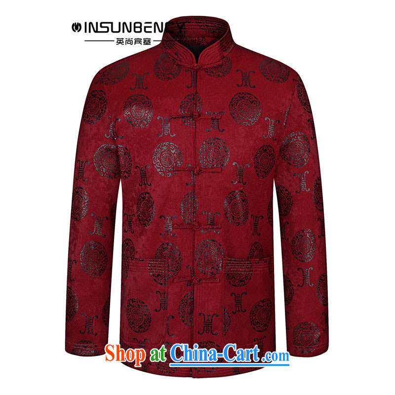 The British still Spencer 2015 spring new China wind men's casual stylish Chinese, stamp duty for Tang jackets Z 06 wine red 180