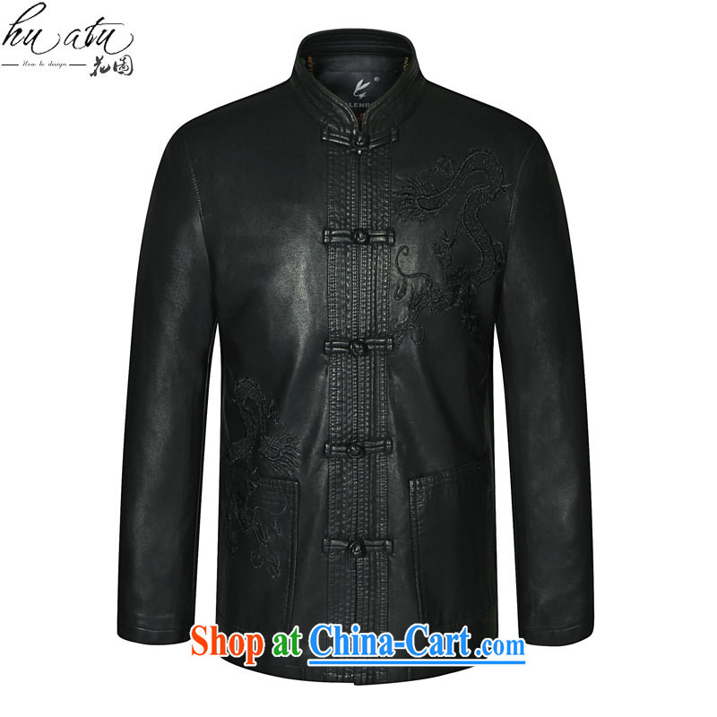 Take the Spring and Autumn new middle-aged and older men leather jacket Tang with his father on the collar leather Tang replace fur smock black 190