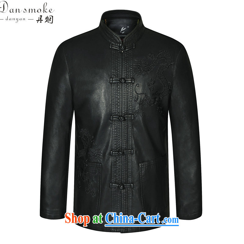 Bin Laden smoke Spring and Autumn new middle-aged and older men leather jacket Tang with his father on the collar leather Tang replace fur smock black 190