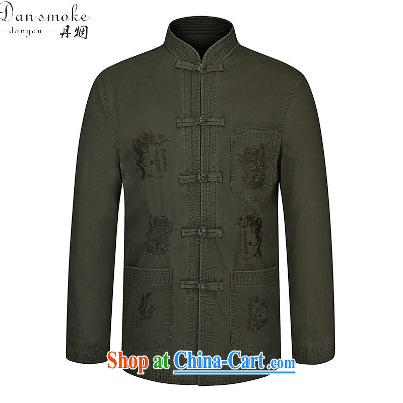 Dan smoke spring new, older men modern Chinese, for pure cotton China wind embroidery father replacing Tang jackets pickles color 190