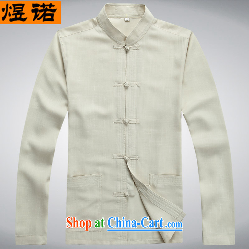 Familiar with the linen spring and summer, Chinese, for older people in Chinese men and long-sleeved male Han-Nepal summer men's long-sleeved sweater jacket 2043 beige XXXL