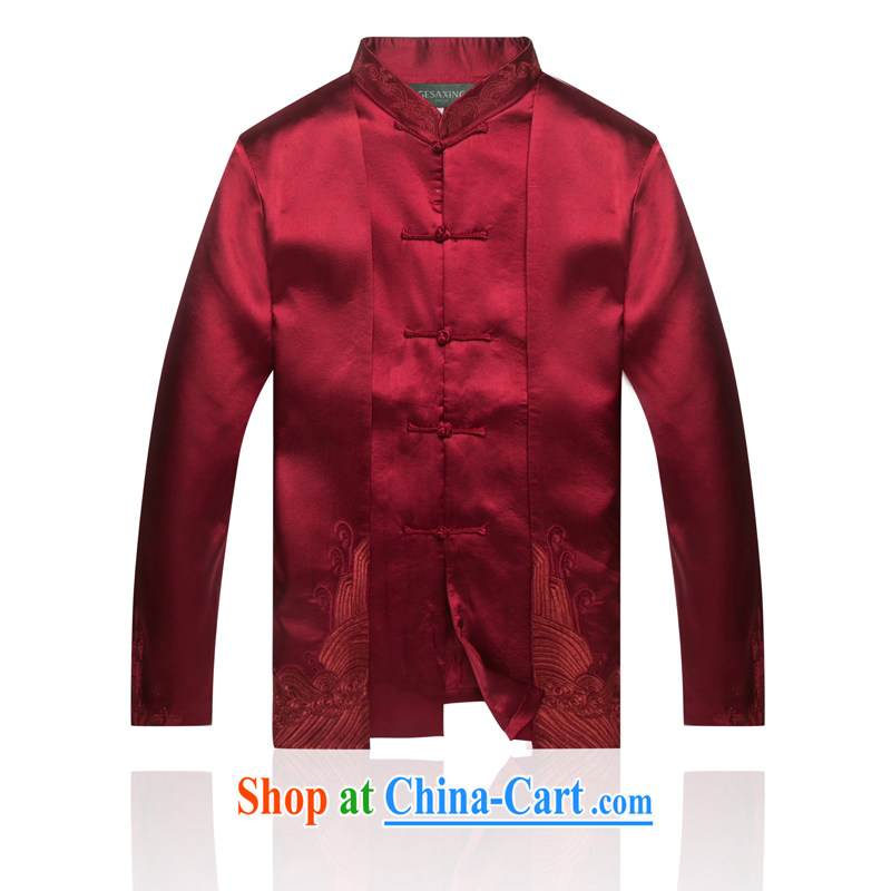 7712 Chinese autumn and winter New China wind male APEC Chinese clothing men's jackets, Chinese leaders, served wine red XXL/185
