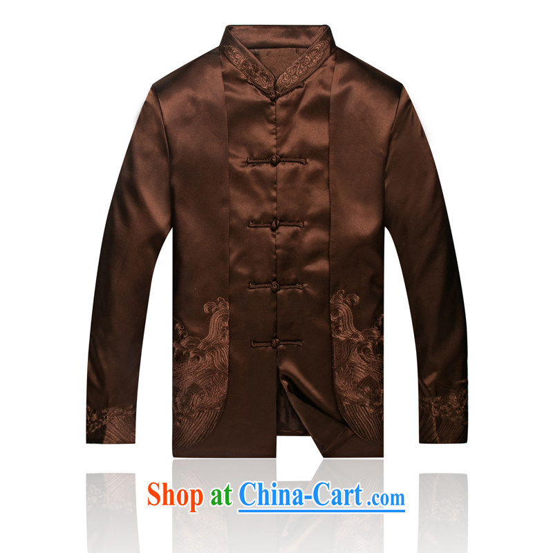 7766 men's jackets APEC New loaded male Chinese Chinese dress with T-shirt clothing autumn and winter brown XXL/185
