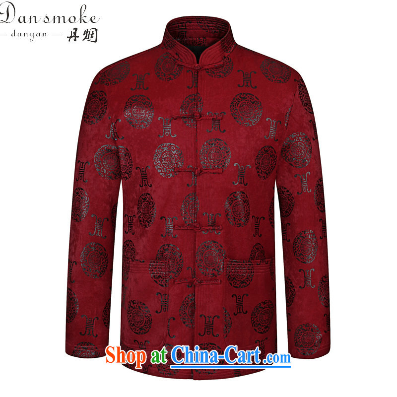 Dan smoke spring new, older men Chinese Chinese, for improved father with modern Chinese cotton retro jacket wine red 190