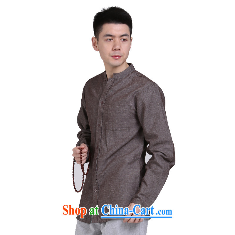 China wind cultivating Chinese business APEC men's long-sleeved men's shirts linen original casual middle-aged men's shirts red and brown XXXL, at the foot of the mountains, sports, and shopping on the Internet
