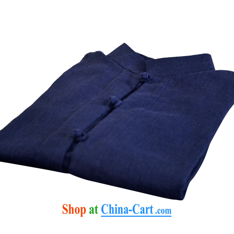 The collar-Tie long-sleeved Business Casual Shirt APEC cotton the retro China wind original male blue XXL