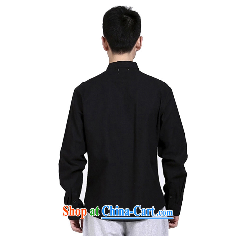 Hill People Movement original Chinese style cotton shirt the Chinese shirt and collar Zen men's black linen clothing Nepal retreat serving black XXL