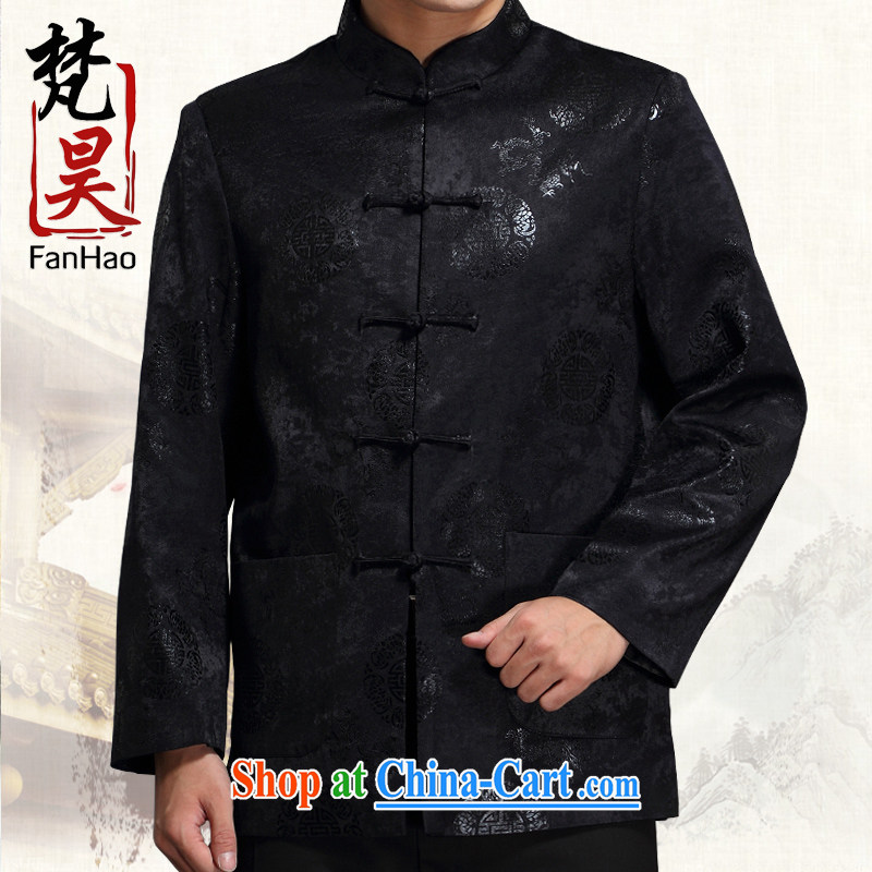 Van Gogh's Annual Spring and Autumn and male-tang jackets, older the life quality Chinese jacket J 1517 black XXXXL