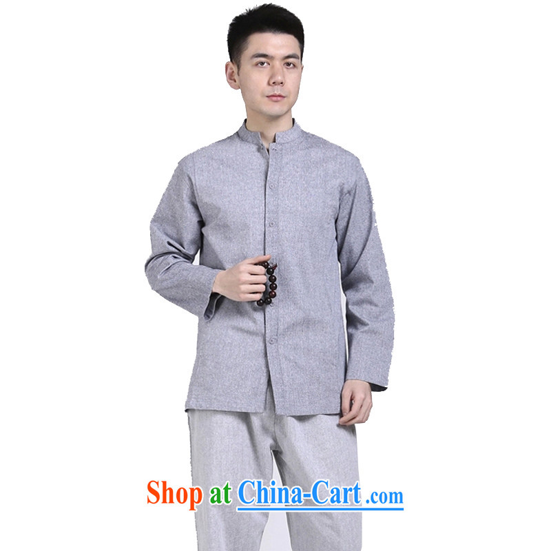 Hill People Movement original Chinese style cotton shirt the men's Chinese shirt relaxed casual long-sleeved T-shirt gray XXL