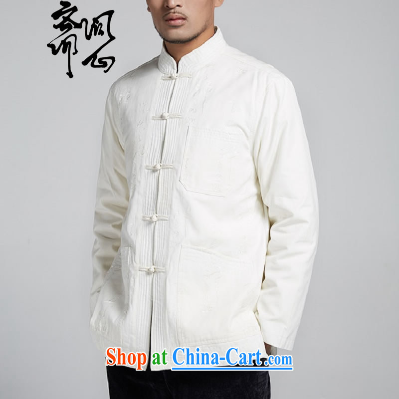 Ask a vegetarian _the Health series men's Chinese-tie coat of color improved Chinese 1771 white XXXL