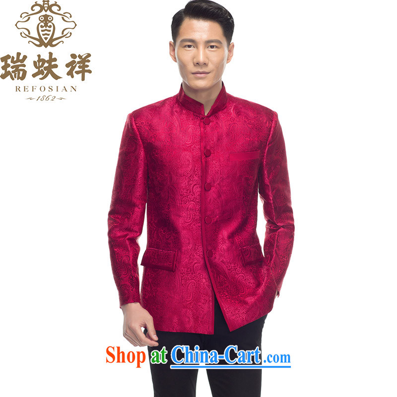 Ryan and Eric LI men brocade coverlets T-shirt 2015 new summer blue retro China wind Tang red XXXL