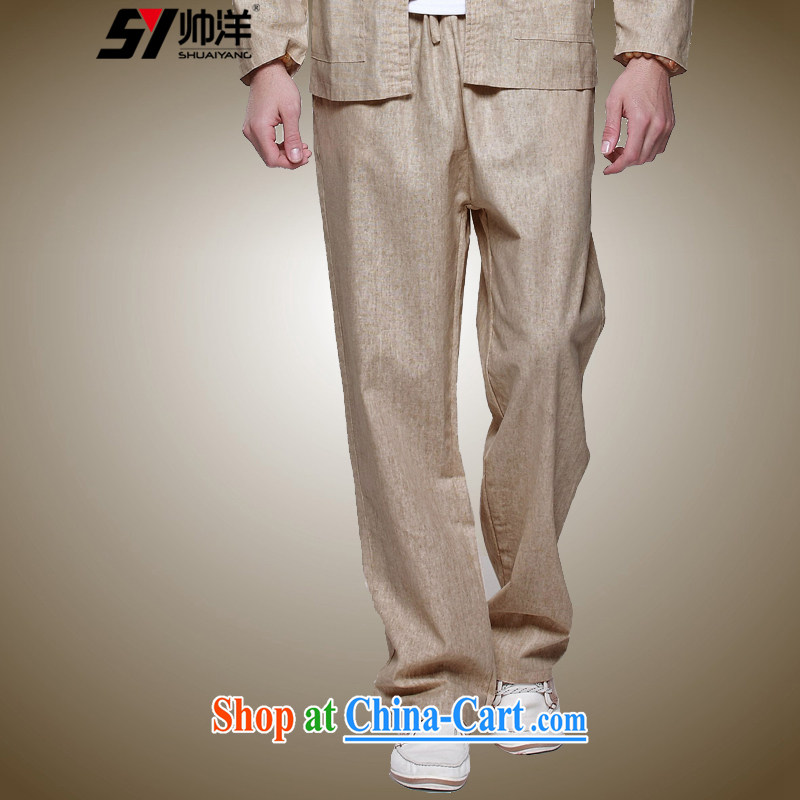cool ocean 2015 spring men's linen trousers China wind male Tang pants Chinese Spring and Summer comfort and breathability men's trousers 100 ground, elasticated waist with drawcord m yellow (trousers) 41/175