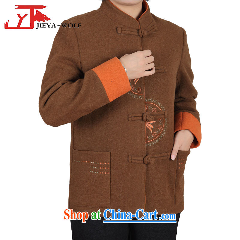 JIEYA - WOLF New Fleece tang on men's long-sleeved thick winter, male Tang jackets men's cashmere Tang is cool and relaxing autumn and winter, brown female XXL female, JIEYA - WOLF, shopping on the Internet