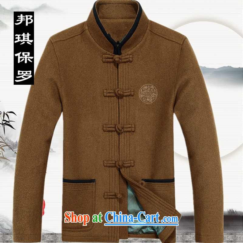 Bong-ki Paul 2014 autumn and winter in older Chinese men and grandpa loaded jacket wool, thick coat the code national costumes With Grandpa and 222 yellow XXXL