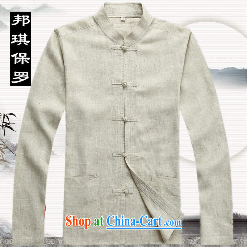 Bong-ki Paul 2014 spring and summer, older men Tang with long-sleeved Kit linen clothes, older persons with Grandpa older Tang mounted Kit 2042 beige S