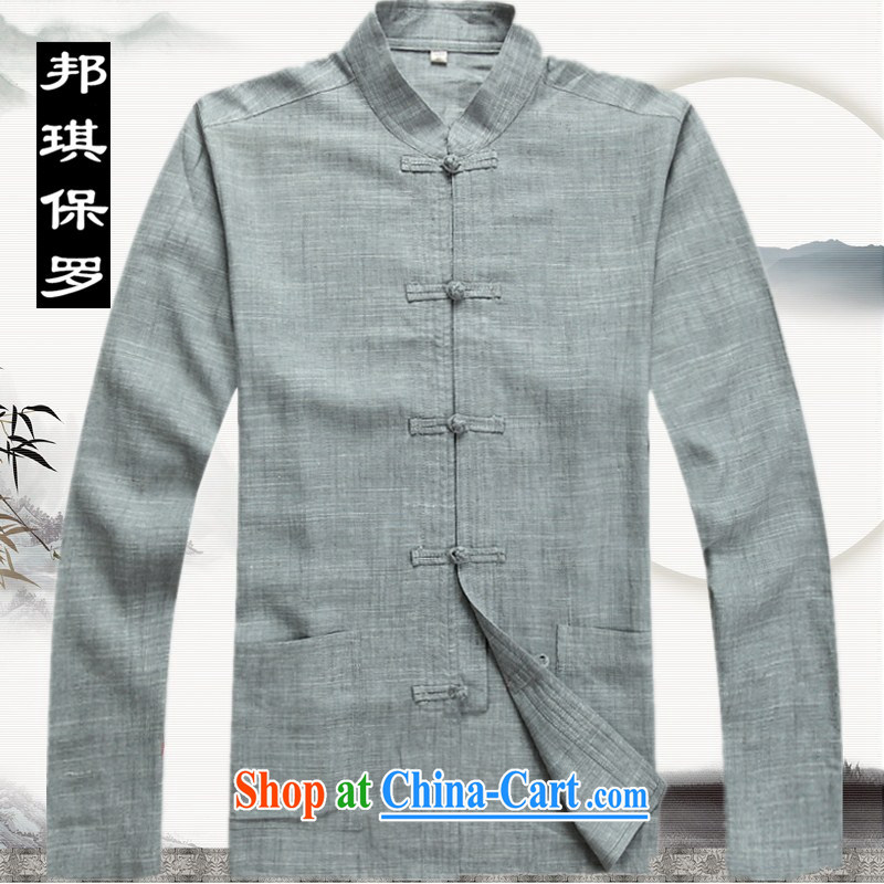 Bong-ki Paul 2014 spring and summer thin Chinese linen package Chinese men's long-sleeved Tang jackets, older Chinese package leisure men's 2042 gray XXXL