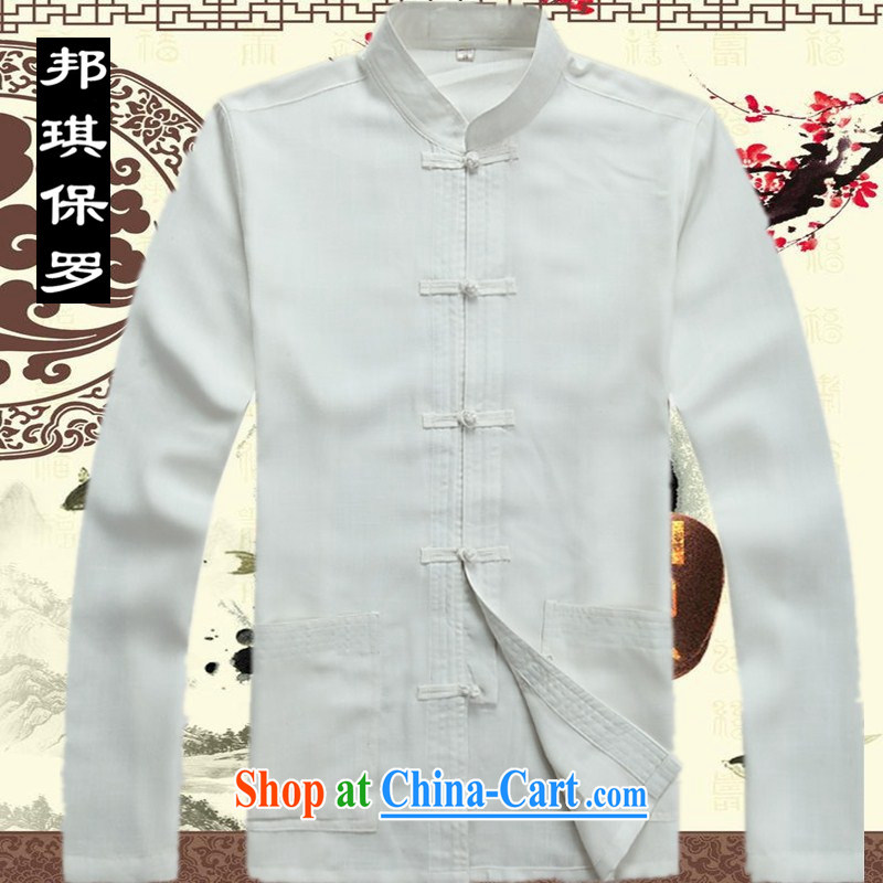 Bong-ki Paul 2014 spring and summer Chinese men's jacket Tang replace older grandfather Tang jackets Dad installed China wind linen Chinese T-shirt 2043 white XXXL