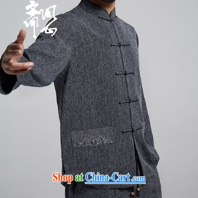Ask a vegetarian _the health of spring loaded new men's thin Chinese jacket improved Chinese T-shirt WXZ 1783 dark gray XXXL
