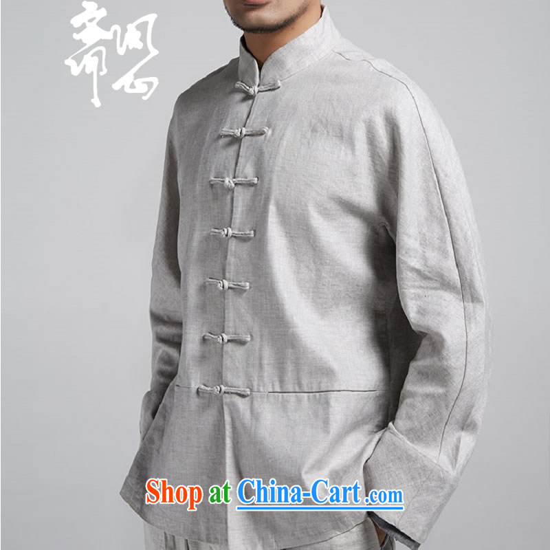 q heart Id al-Fitr (the health of spring loaded new male Chinese jacket improved Chinese WXZ 1784 gray and white XXXL 52 code