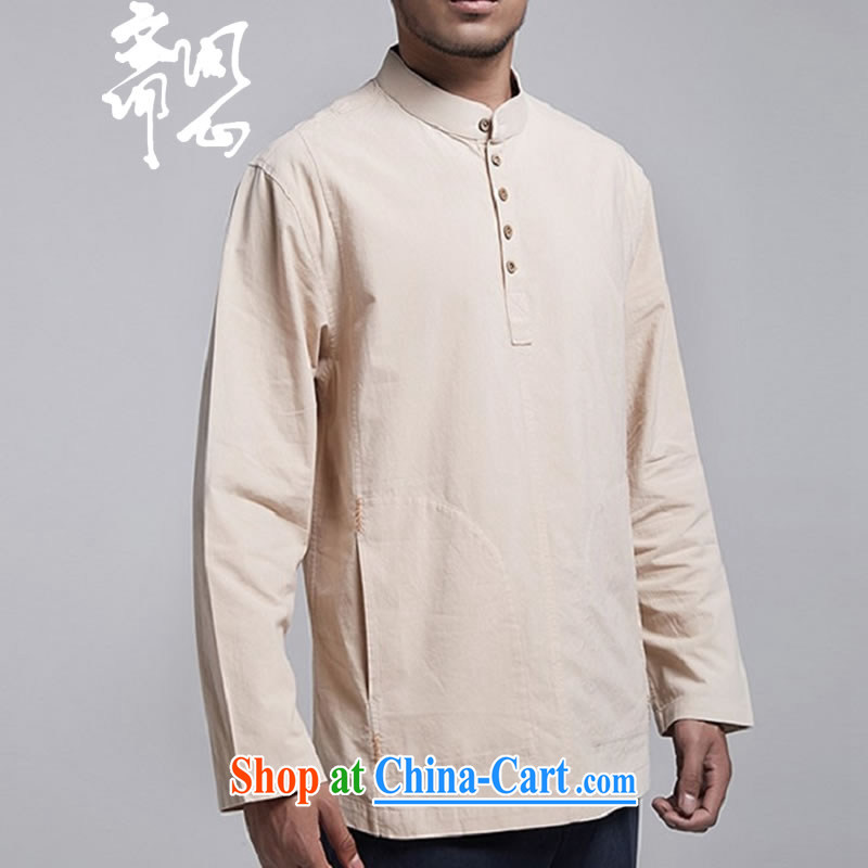 q heart Id al-Fitr _the health of spring loaded new male muslin shirt stylish improved Tang replace WXZ 1786 light yellow XXXL 52 code