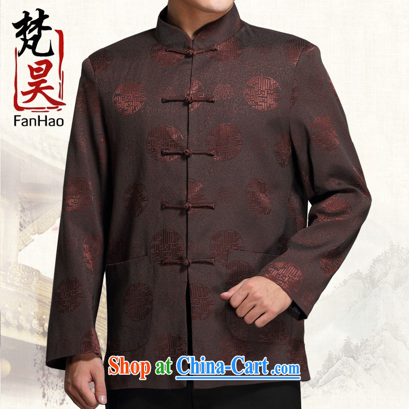 Vincent van Gogh in Ho older Chinese men and jacket Chinese long-sleeved Tang with autumn and winter, and smock jacket J 1515 brown XL
