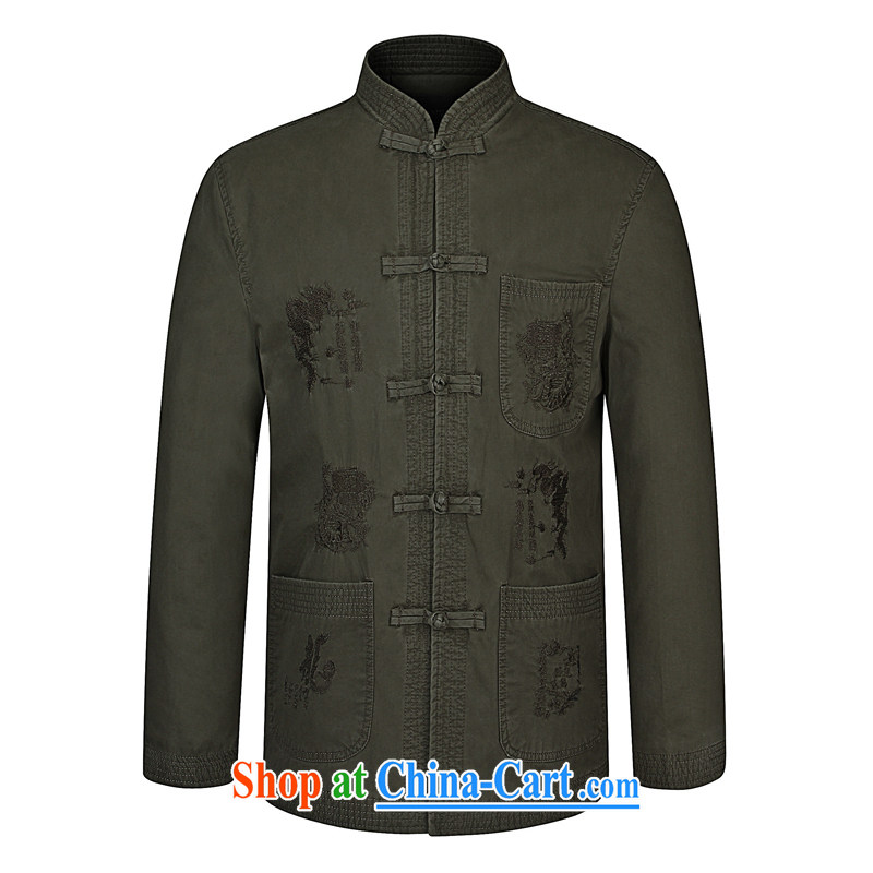 Kim Ho-The pure cotton jacket tang on T-shirt spring new, older men's jackets National wind-tie long-sleeved Tang with sand wash cotton card the 175 black 190, Kim Ho-AD, and shopping on the Internet