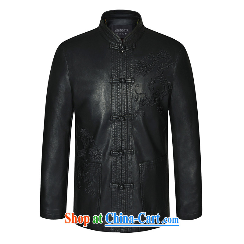 Kim Jong-il-ho in the 2015 Spring and Autumn and Winter, older male Tang in long, Korean version, neck jacket leather jacket fur Tang black 175 black 190