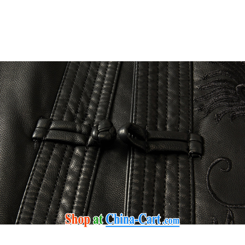 Kim Jong-il-ho in the聽2015 Spring and Autumn and Winter, older men and replacing Tang in long, Korean, Neck Jacket leather jacket sheep skin Tang black 175 black 190, Kim Ho-AD, and shopping on the Internet