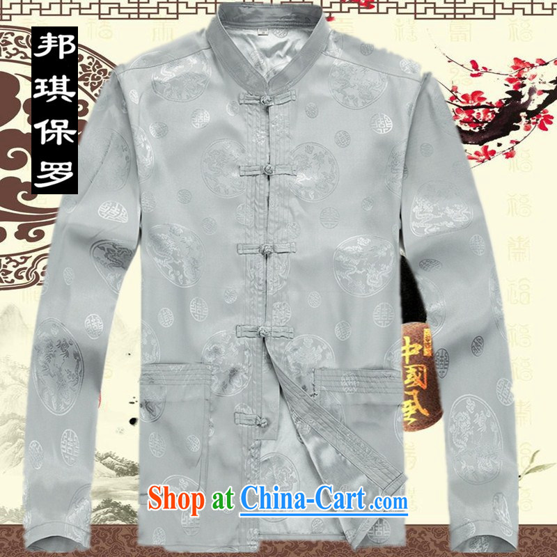 Bong-ki Paul in 2014 elderly Chinese package men and long-sleeved middle-aged and older men with short summer dress China wind Grandpa loaded 8061 gray T-shirt XXL